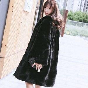 Image 5 - 90CM Länge Echte Nerz Pelz Mantel Jacke mit Hoody Dünnen Gürtel Winter Echte Frauen Pelz Oberbekleidung Plus Größe 3XL LF9045