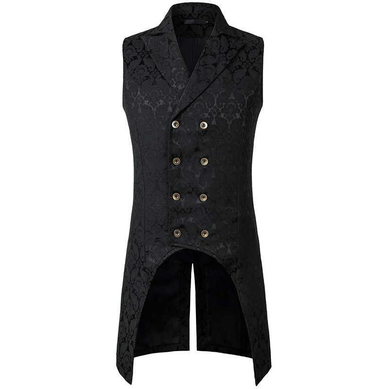 Erkek gotik Steampunk yelek çift göğüslü kolsuz jakarlı Tailcoat ortaçağ victoria Cosplay elbise yelek sahne kostüm XXL