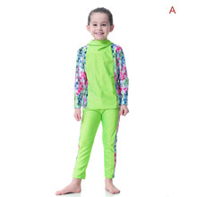 Girls Modest Islamic Swimsuits with Hijab Full Cover Muslim Swimwear XIN-Shipping(China)