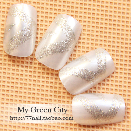 2013 free shipping Brief silver grey color false nail patch nail art slice 24 glitter z Women