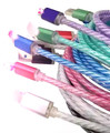 100  PCS  6Colors 1M LED Light Durable Micro USB Cable Charger Data Sync Cord For Samsung Galaxy S3 S4 S5 HTC