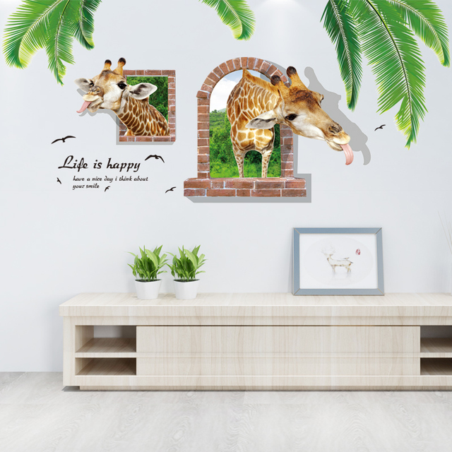 [SHIJUEHEZI] Palm Tree Leaves Wall Sticker Vinyl DIY Giraffe Animals Wall Art for Living Room Kitchen Restaurant Decoration