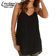 Elia Cher Thin Chiffon Sleeveless Blouses Women Beach Black Camis V -Neck Girls Summer Blouse Plus Size Tank Tops Shirts 6576