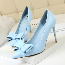 cute bow women high heels pumps Ladies shoes 2018 sexy pointed toe 10cm thin heels 7 colors wedding shoes woman plus size 34-43 cheap Basic Super High (8cm-up) Party Slip-On Rubber Spring Autumn 201810023DS001 Sweet 0-3cm Fits true to size take your normal size