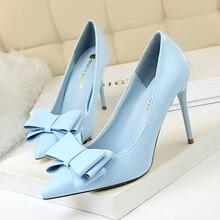 Śliczne łuk damskie buty na wysokim obcasie pompy damskie buty 2018 sexy pointed toe 10cm na cienkim obcasie 7 kolorów buty ślubne kobieta plus rozmiar 34 43