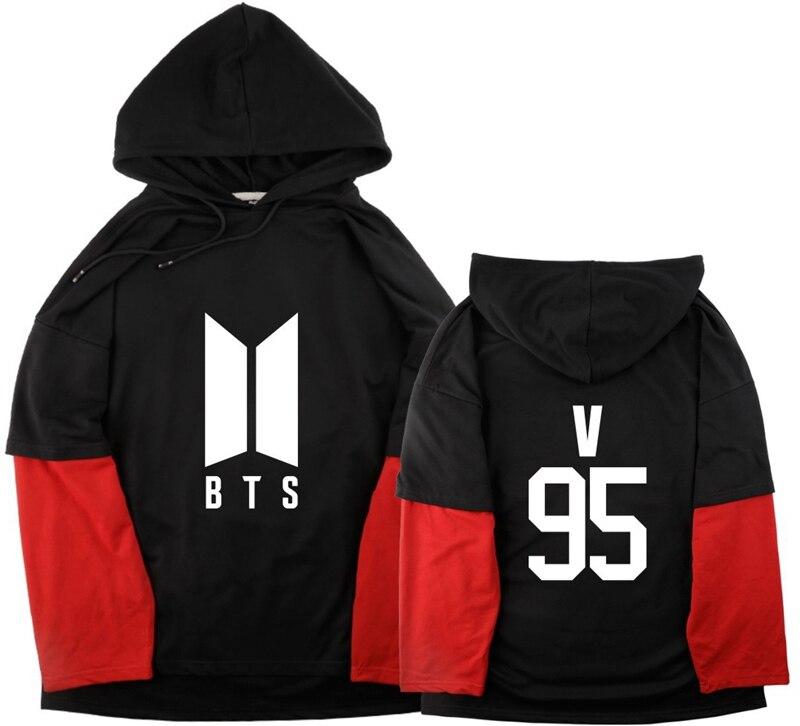 BTS Bangtan Boys Unisex Double Layer Sleeve Hoodie sweatshirts JUNG KOOK J-HOPE JIMIN JIN V causal top hooded man sweatshirt