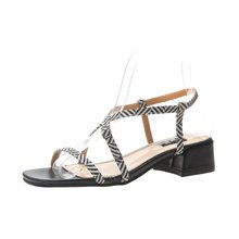 Sandals ladies summer 2019 fashion wild casual thick with buckle buckle toe fish mouth low heel sandals women's shoes цены онлайн
