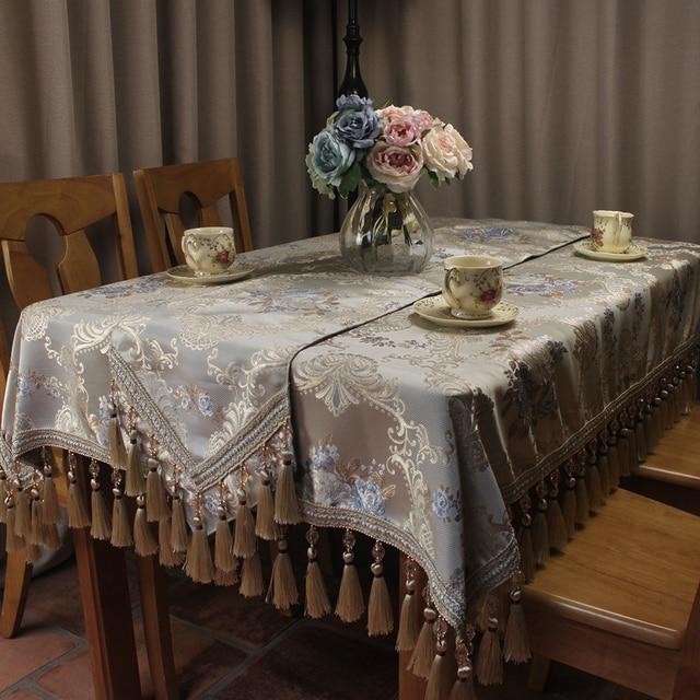 Curcya Clic Vintage Wedding Table Cloth Luxury Jacquard Handmade Formal Dining Covers Home Decoration Custom