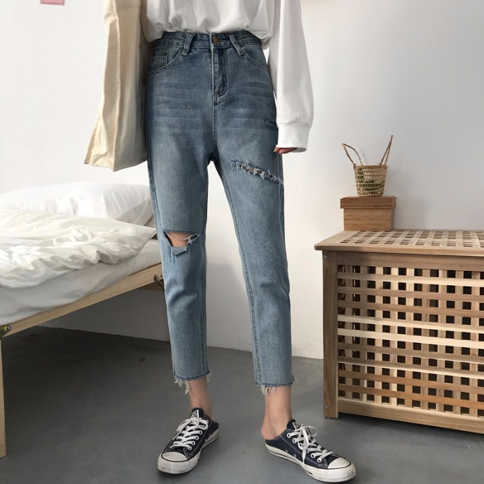 Korean version loose woolly hole broken   jeans   female 2019 spring dress new high waist harlan Pants BW67