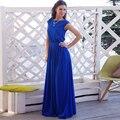 2017 Promover Lanon Elástico Larga Delgada Vestidos de Las Mujeres Elegantes de Un line dress reunión de verano vestidos formales sin mangas negro azul dress