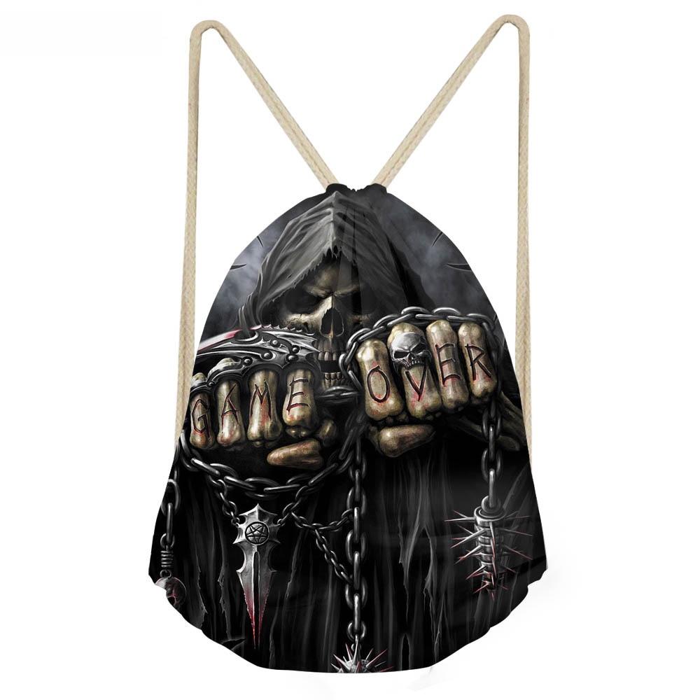 ThiKin Punk 3D Azrael Skull Print Men Drawstrings Bags Vintage Boys Girls Basketball Soccerly Storage Backpacks