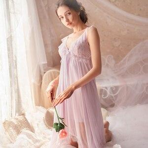 Image 2 - Cổ Tích Retro Cung Điện Gió Ngọt Công Chúa Váy Ngủ Mùa Xuân và Mùa Hè Váy Ngủ Phối Ren V Cổ áo Housewear Váy Ngủ Sleepshirts