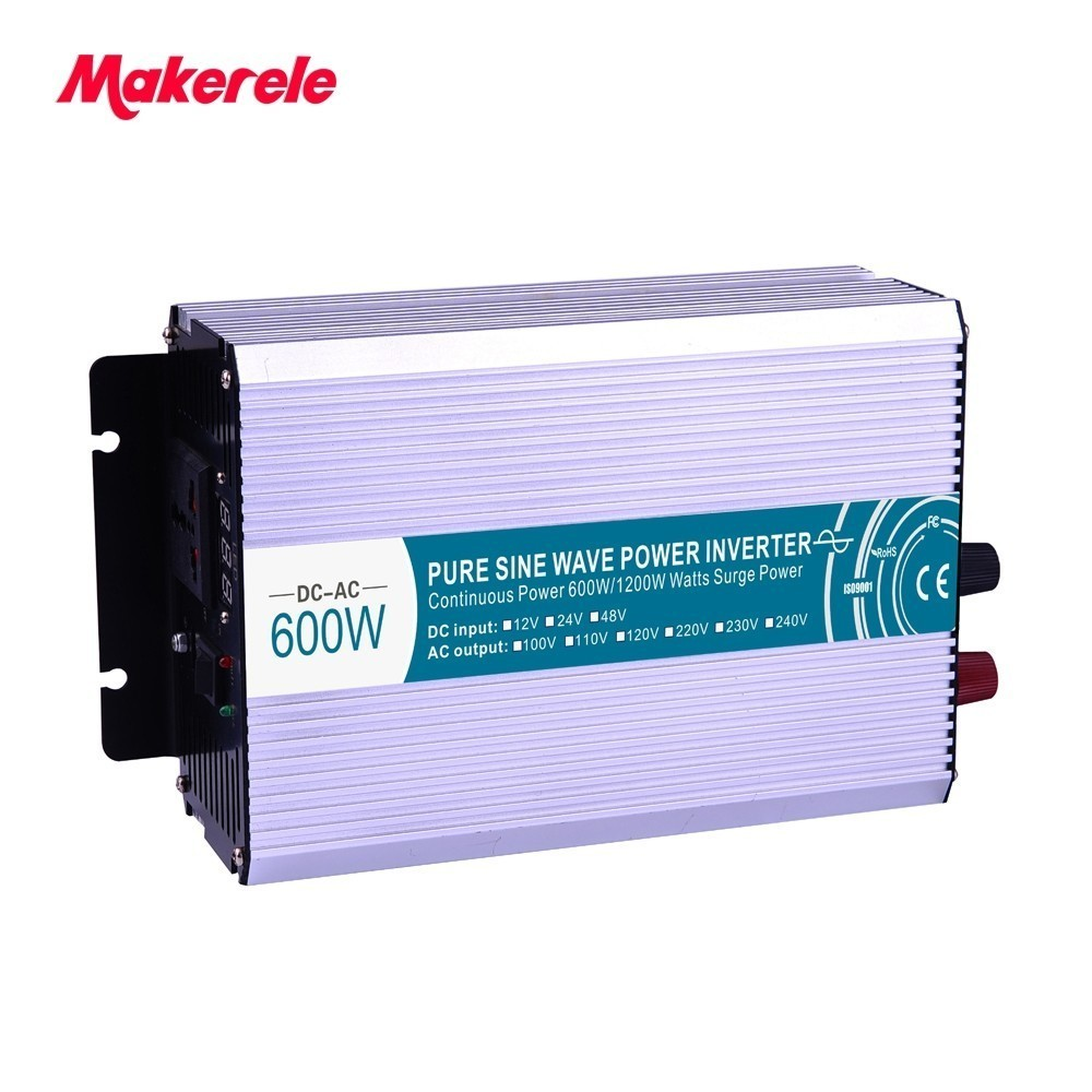 цена на Pure Sine Wave Inverter 600W DC 12V 24V 48V to AC 110V 220V Smart Series Solar Power Off grid 600W Surge Power 1200W