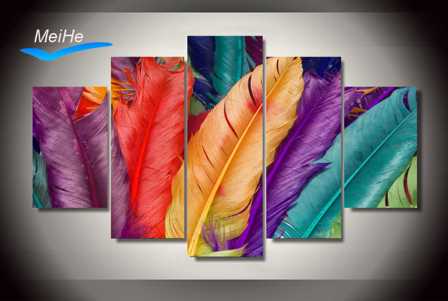 Framed Printed Colored feathers Painting on canvas room decoration print poster picture canvas Free shipping/jjh2899