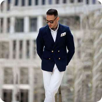 Slim Fit Navy Blue Men Suits for Business White Pants Double Breasted Classic Man Costume Custom Made Groom Tuxedos 2Piece