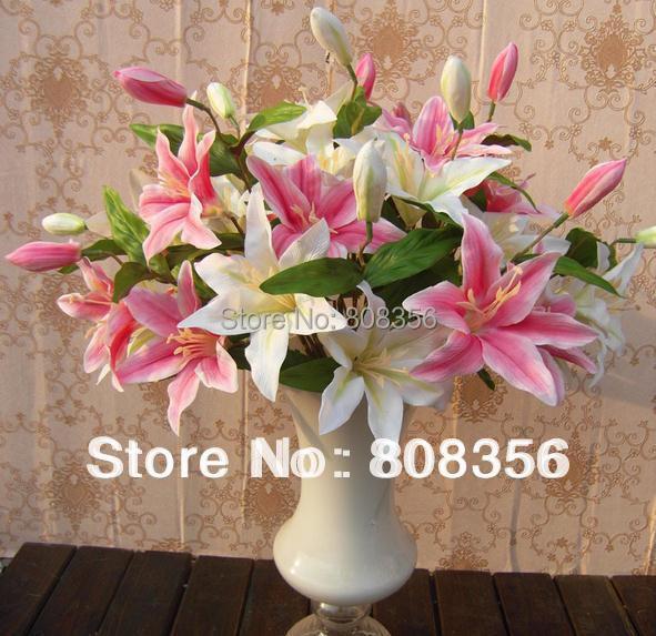 8PCS 52CM الأوروبية محاكاة الزهور الاصطناعية زنبق اثنين من رؤساء زهرة وبرعم واحد لمستلزمات الزفاف