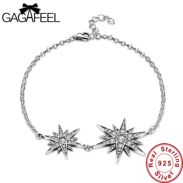 Gagafeel Real 100 925 Sterling Silver Double Stars Women Bracelets