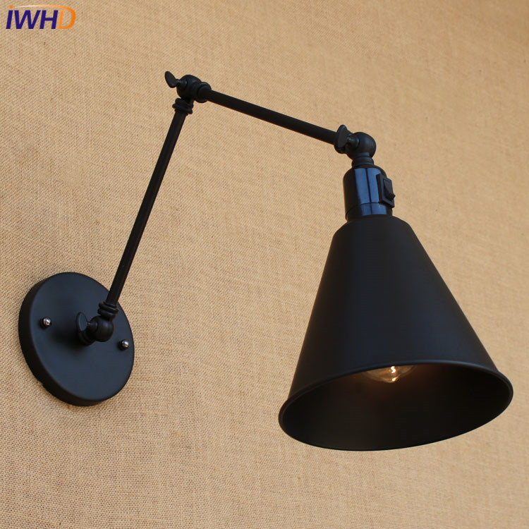 Angle Adjustable Arm Industrial Vintage Black Wall Lamp Indoor Simple Iron Sconce Wall Lights Bedside Restaurant Light Fixtures