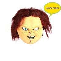 Tam Yüz Cosplay Ürpertici Korkunç Chucky Lateks Maske Korku Maskeli Yetişkin Hayalet Parti Maskesi Cadılar Bayramı Sahne Kostümleri Fantezi Elbise