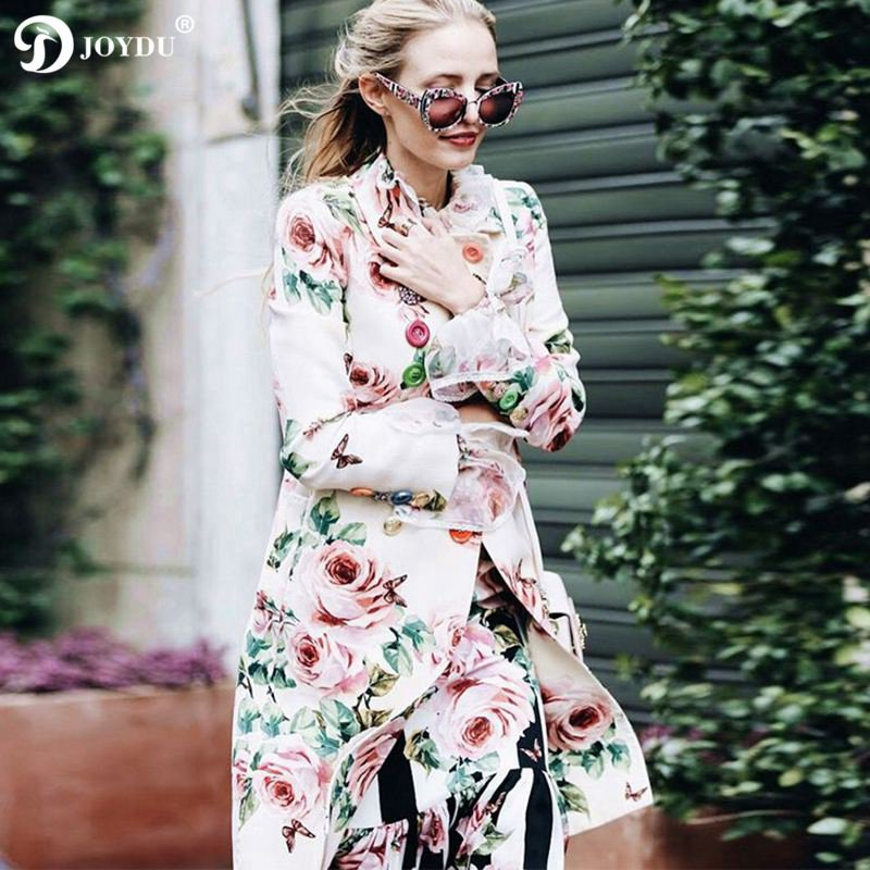 Runway Luxury Brand   Trench   Coat Women 2019 Vintage Long Coats Rose Flora Print Diamonds Double Breasted Overcoat casaco feminino