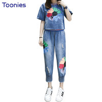 2 Pcs Sets Women Suits T Shirt Flower Print Striped Hem Cotton Denim Jeans Shorts T