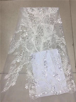 Yellow White Green Purple Color French Lace Fabric High Quality 3D Sequins Lace Newest Tulle Lace