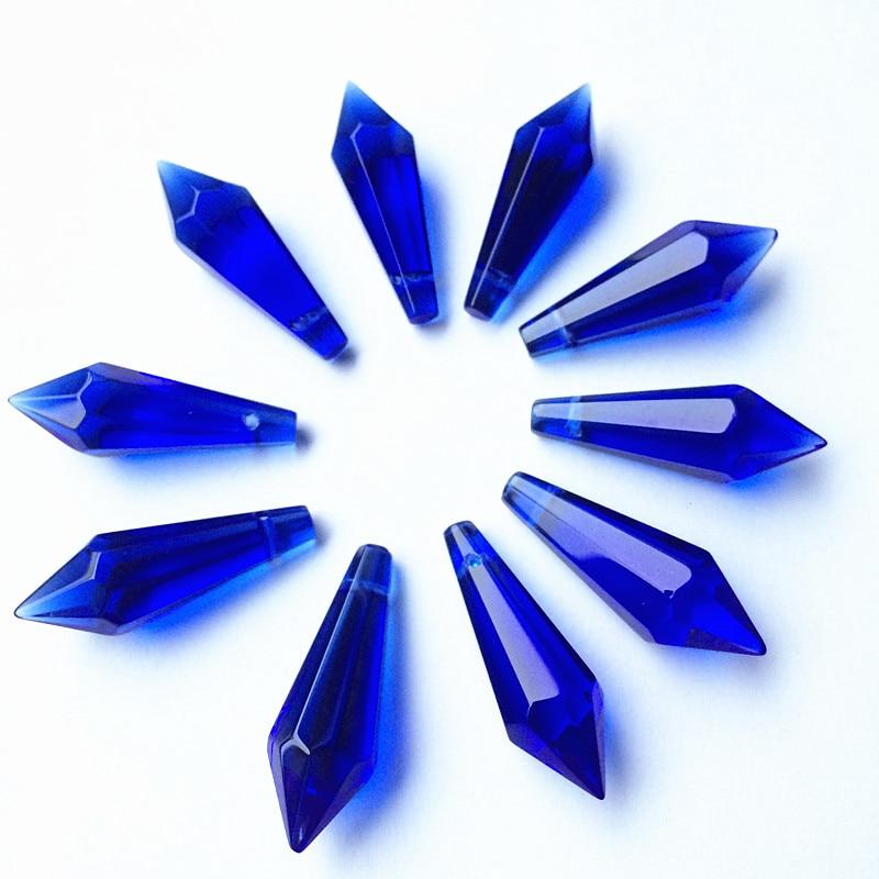 K9 Хрустальная люстра подвески призмы(бесплатное кольцо) многоцветная огранка и граненое стекло 36 мм u-сосулька капли для украшения торта - Цвет: Blue