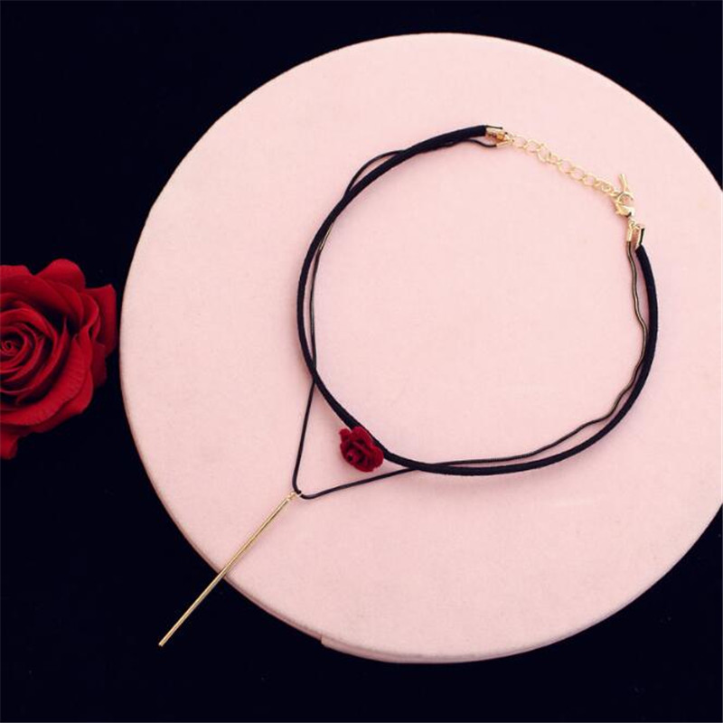 CX Shirling Fashion Jewellery Rose Gold Pendant Necklaces Female Hot Red Rose Statement Necklace 2017 Jewelry Custom Design in Pendant Necklaces from Jewelry Accessories