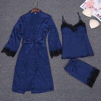 Spring Sexy Robe Kimono Sleepwear Sets Womens 3 Pieces Strap Top Pants Suit Casual Home Wear Pajamas Nightwear Bath Gown M L XL