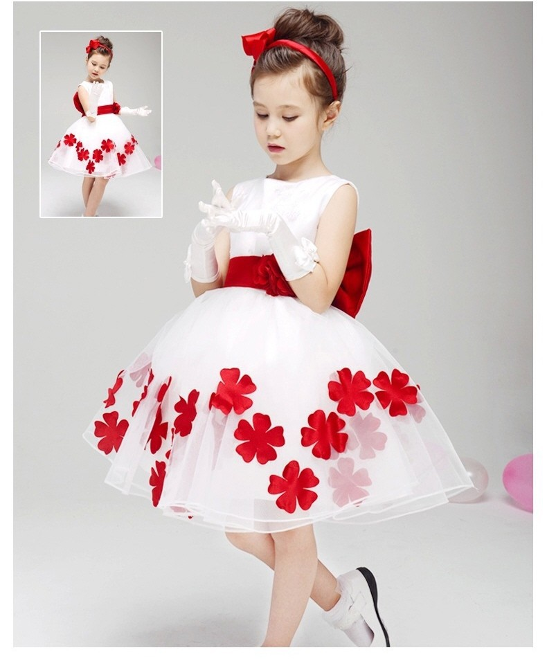 Baby girl dresses 2017 party new dress with red flowers princess dress  boutique sleeveless toddler girl  dresses wedding toddler girl dresses chinese new year lace embroidery flowers long sleeve baby girl clothes a line red dress for party spring