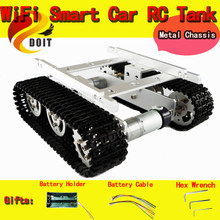 Official DOIT RC Metal Tank Caterpillar Tractor Chassis Crawler Intelligent Robot Car Obstacle Avoidance DIY RC Toy Remote