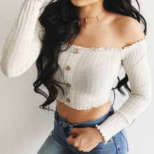 2019 New Fashion Women Off Shoulder Shirt Ladies Summer Skinny Long Sleeve Blouse Sexy Button Short Tops