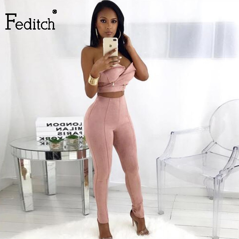 Feditch New Womens Jumpsuit Fashion Suede Sexy Strapless Jumpsuit Women Overalls Rompers Womens Jumpsuit Combinaison Femme