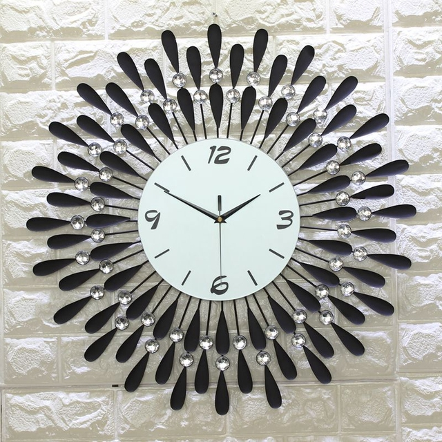 3d Horloge Murale Grand Mur Montres Salon 43 Pcs Diamants