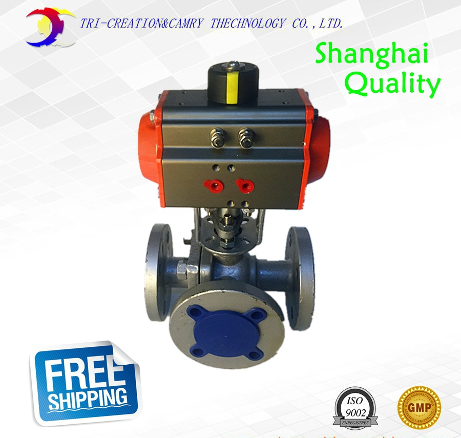 1 DN25 pneumatic stainless steel flange ball valve,3 way 316 flange ball valve with double acting actuactor_PN16 T-port free shipping for toshiba satellite l850d l855d c850 c855d c850d series motherboard plac csac uma main board fully tested