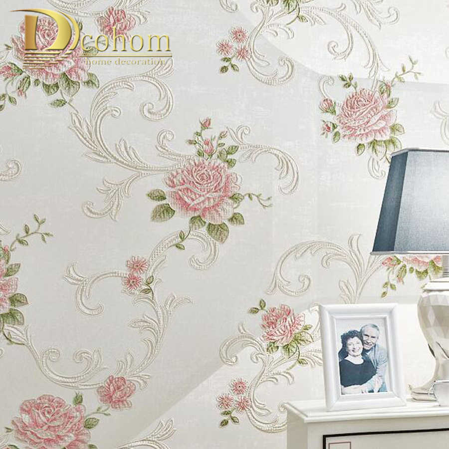 Wall Background Decor Floral Embossed Textured Wallpaper European