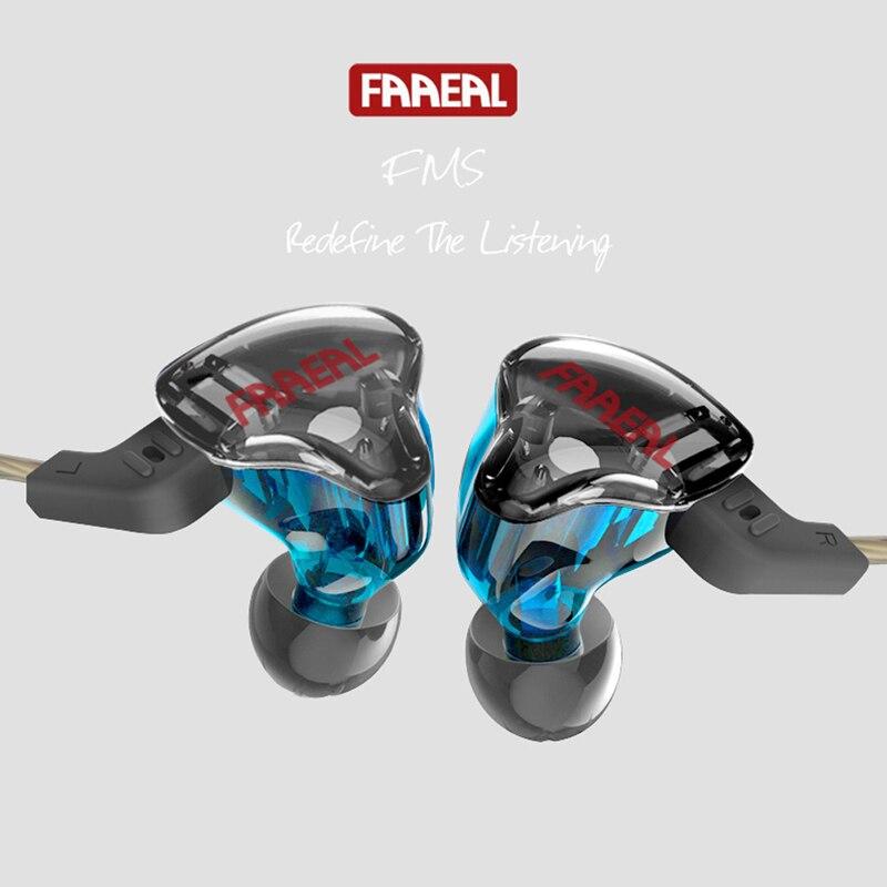 Новый FAAEAL ФМС в ухо BA + DD Гибридный наушников съемный кабель аудио мониторы Шум изоляция HiFi Музыка Спорт Наушники