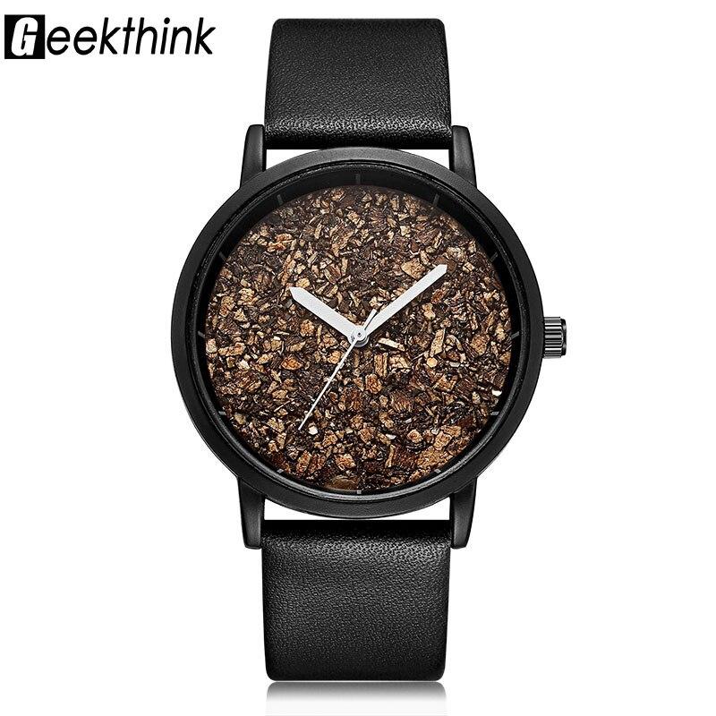 Geekthink Natural Gravel Stone Face Wooden face Fashion Men Brand Quartz Watches Women Ladies Casual Designer Wristwatch Dress mance ladies brand designer watches