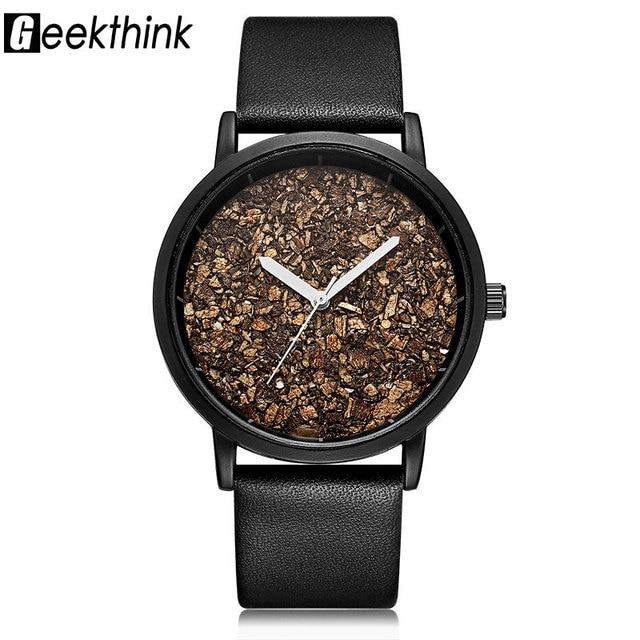 Geekthink piedra de grava Natural cara de madera moda hombres marca relojes  de cuarzo mujeres señoras e8f14539015b