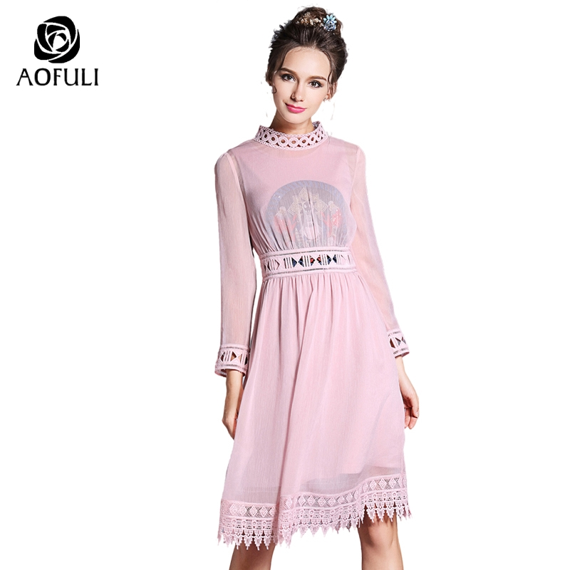 S 5XL Vintage Women Embroidery Dress 2018 Spring Knee