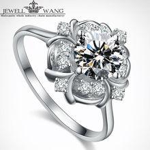 Jewellwang Moissanite Rings for Woman 1.00ct Carat 18K White Gold Lily Flower Original Design Wedding Ring Engagement Gift Girl