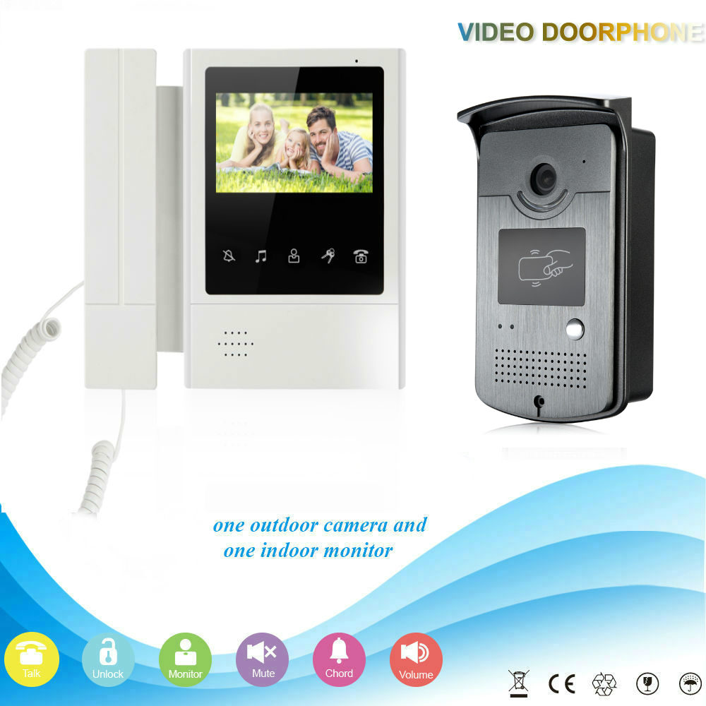 SmartYIBA Home Security Intercom 4.3''Inch Monitor Wired Video Door Phone Doorbell RFID Intercom System 1 Monitor 1 Camera Kit
