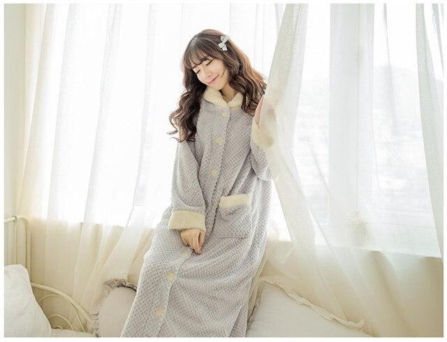 3e6b50b24c New plush robe adult women candy color pajamas long sleeve Lolita sleepwear  bath robes dressing gowns for women bathrobe QHQ