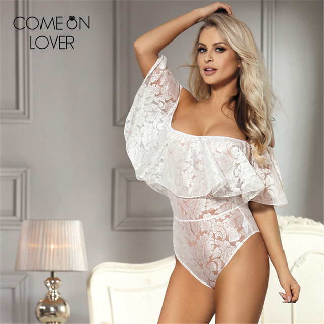 7121c58aab5 Comeonlover Skinny female lace bodysuit beach overalls off shoulder ruffle  v neck bodysuit fashionable party jumpsuit RE80496