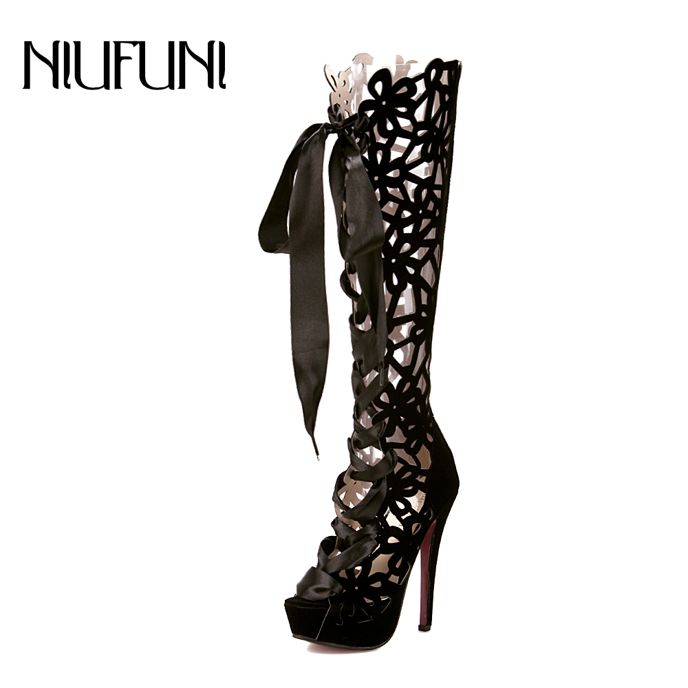 NIUFUNI Cool-Boots Transparent-Boots Shoes Woman Open-Toe High-Heel Sexy Knee-High Women