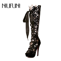NIUFUNI 2018 Hollow Transparent Boots Women Open Toe High Heel Cool Boots Sexy Nightclub Shoes Woman Knee High Boot