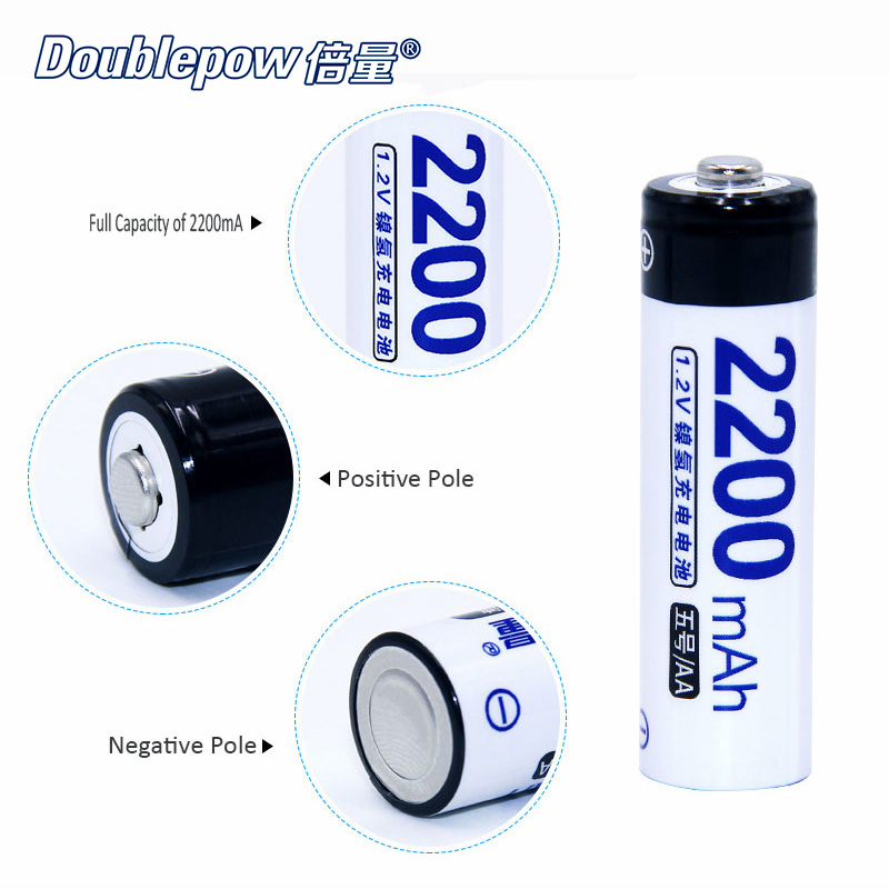 20pcs/Lot Doublepow DP-AA2200mA 1.2V AA 2200mA Ni-MH Rechargeable Battery Actual High Capacity Battery Cell