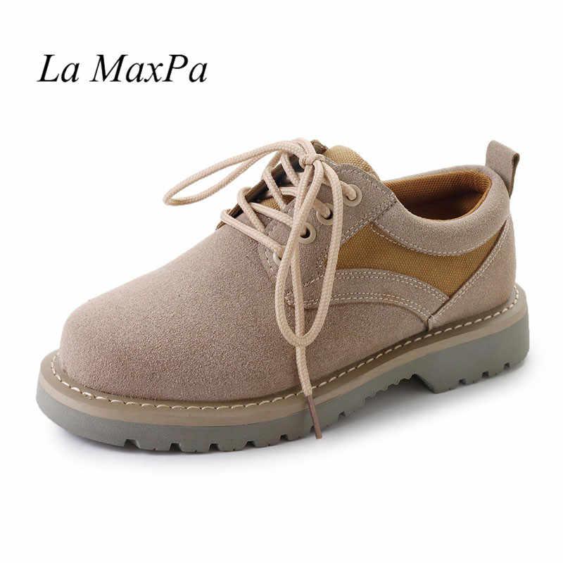 Botas de Otoño de 2018 para mujer zapatos de mujer de cuero nobuck Vintage marrón zapatos de primavera planos con cordones de punta redonda botas de tobillo militares 35-44