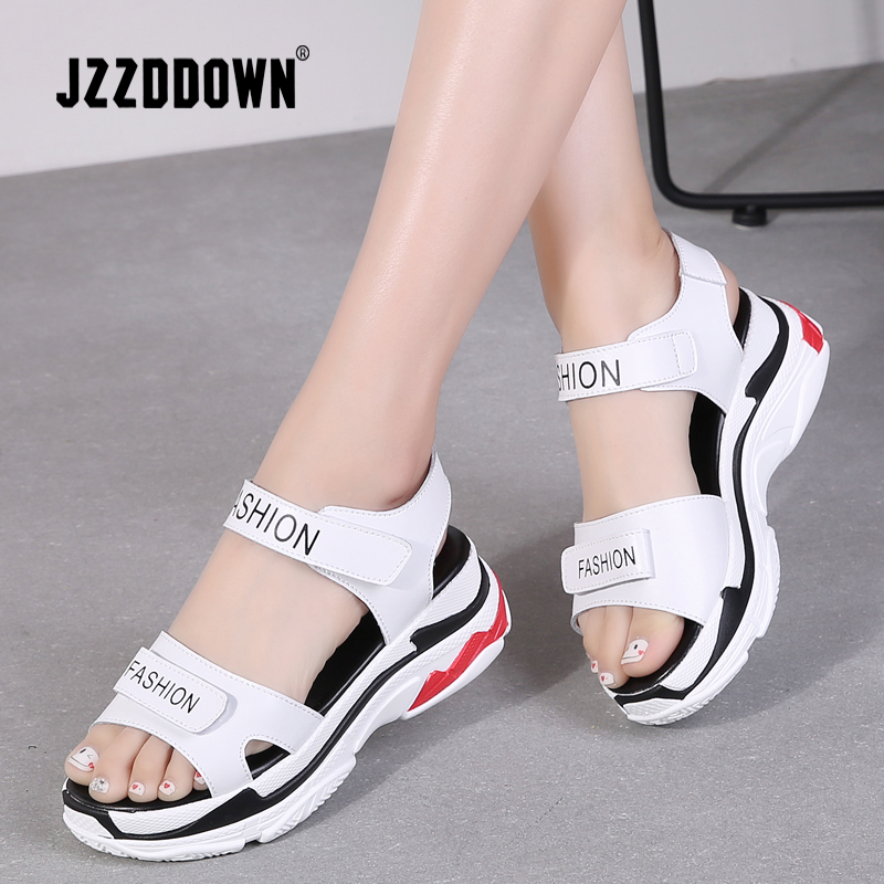 9a4528e46549 Women Platform Beach sandals shoes Genuine Leather ladies Wedges Sneakers  Sandals White Flip Flop shoe summer