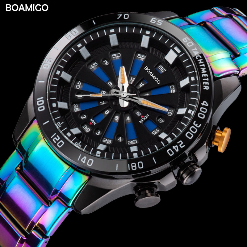 BOAMIGO top luxury brand Men Sports Watches Fashion digital Quartz Watch Stainless Steel Wristwatch waterproof Relogio Masculino